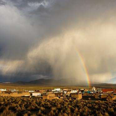 Rainbow over Lagunas village