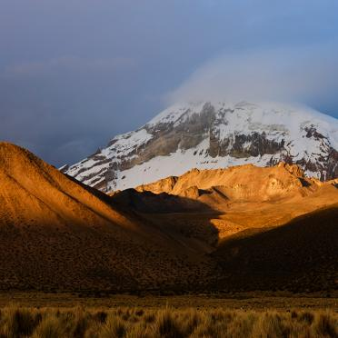 Sajama volvano at sunset