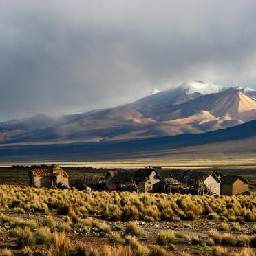 Small vilage at the foot of Sajama