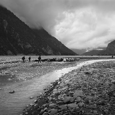 Goatherds crossing Kali Gandaki