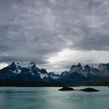 Paine Grande and Quernos del Paine over Lago Pehoe